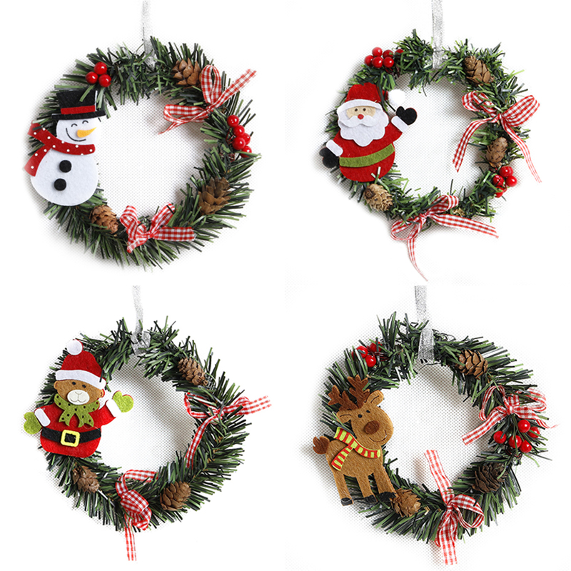 2Pcs Plastic Christmas Wreath Garland Christmas Decorations for Home Pine Snowman Santa Claus Door Decor Ornaments in Pendant Drop Ornaments from Home Garden