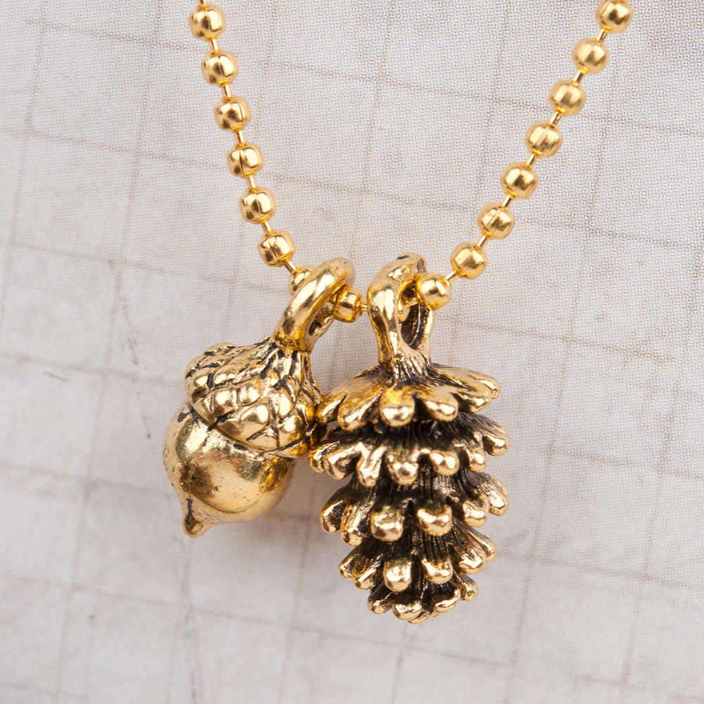 "8SEASONS Handmade Necklace Antique gold-color Pine Cone Acorn 47cm(18 4/8"") long, 1 Piece"