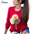 2016 Autumn Harajuku removable 3D Fur Hairball Ice Cream Sweatshirt Women Kawaii Fashion Long Sleeve Pullovers 7 colors QL2649