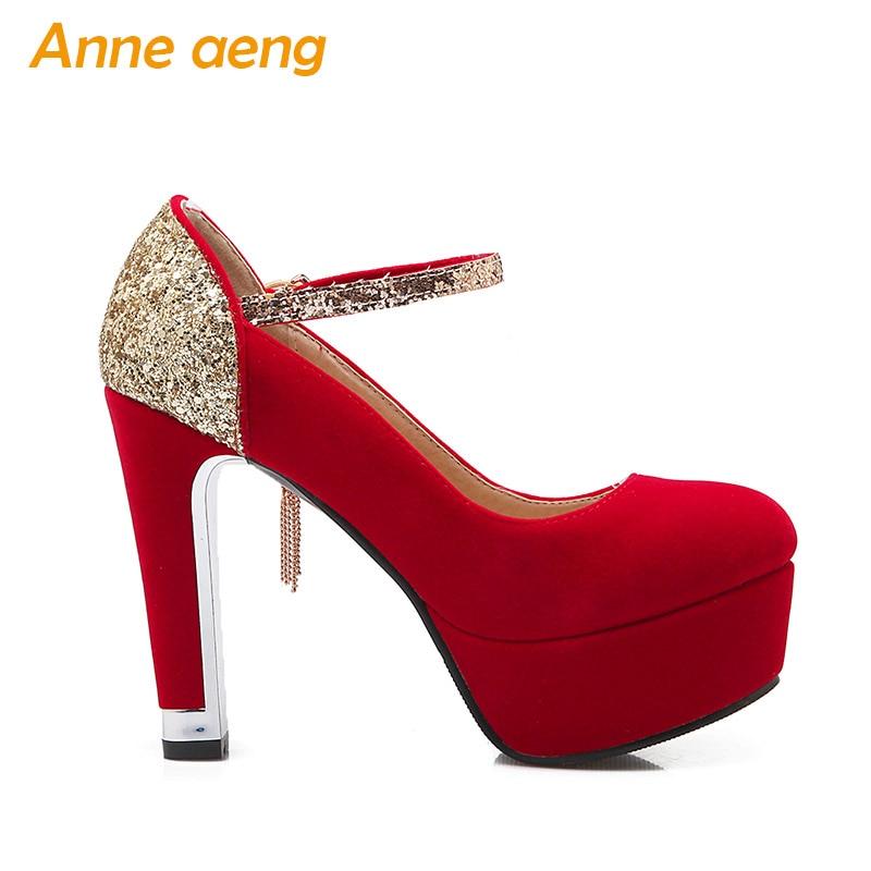 women shoes High heels platform shallow pumps bling elegant sexy ladies  bridal wedding shoes Red women pumps big size 33 42 -in Women s Pumps from  Shoes on ... 6dc427d253ef