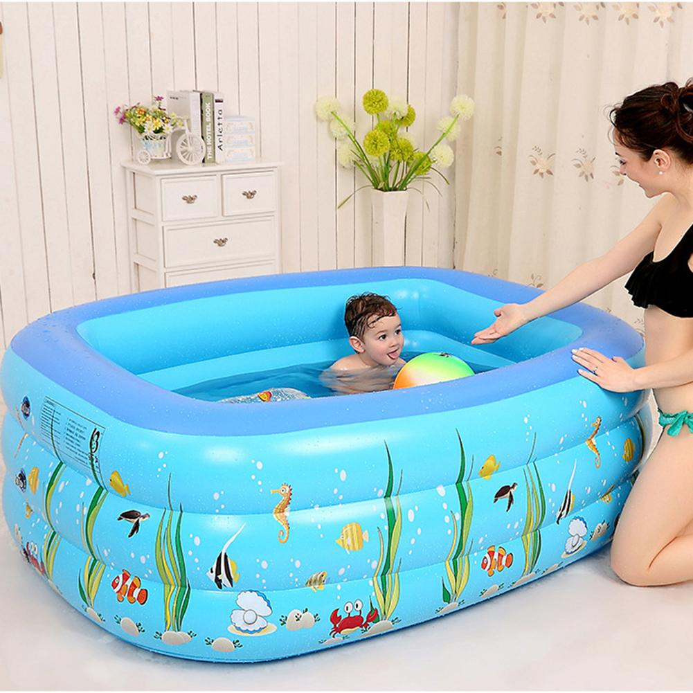 1.3M Three-ring Baby Inflatable Printing Swimming Pool Environmentally Friendly PVC Playing Bathing Pool For Family Children