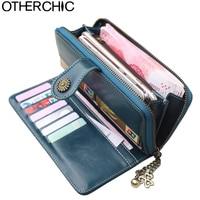OTHERCHIC 2018 Vintage Oil Wax Leather Wallets Women Long Purse Phone Pouch Zipper Purse Women Clutch