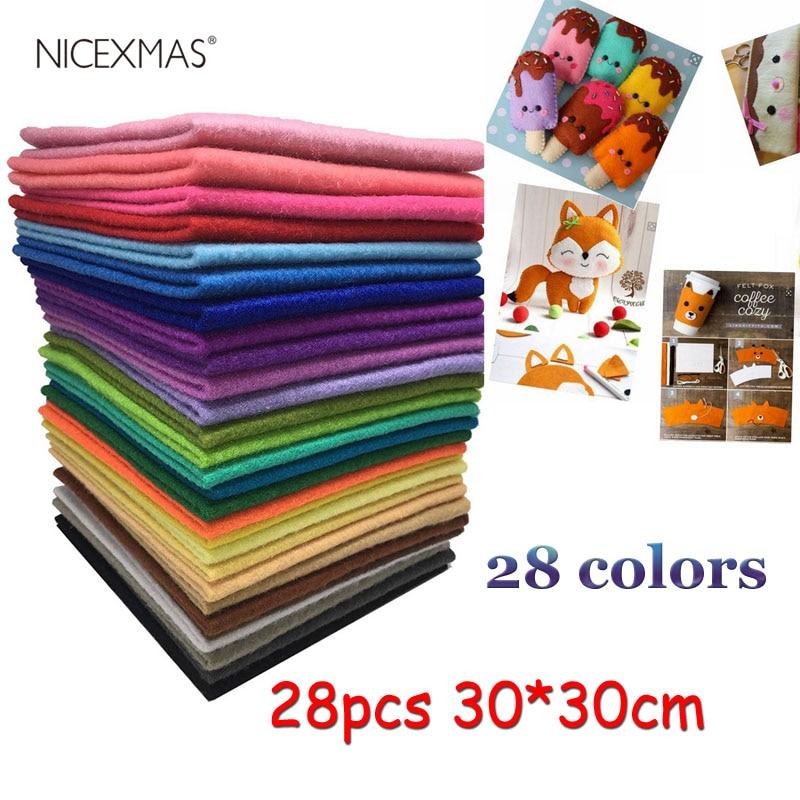 28pc Handmade Felt Fabric Flowers DIY Craft Feltro Para Artesanato For Dolls Fieltro Felting Wool 30x30cm 28 Colors
