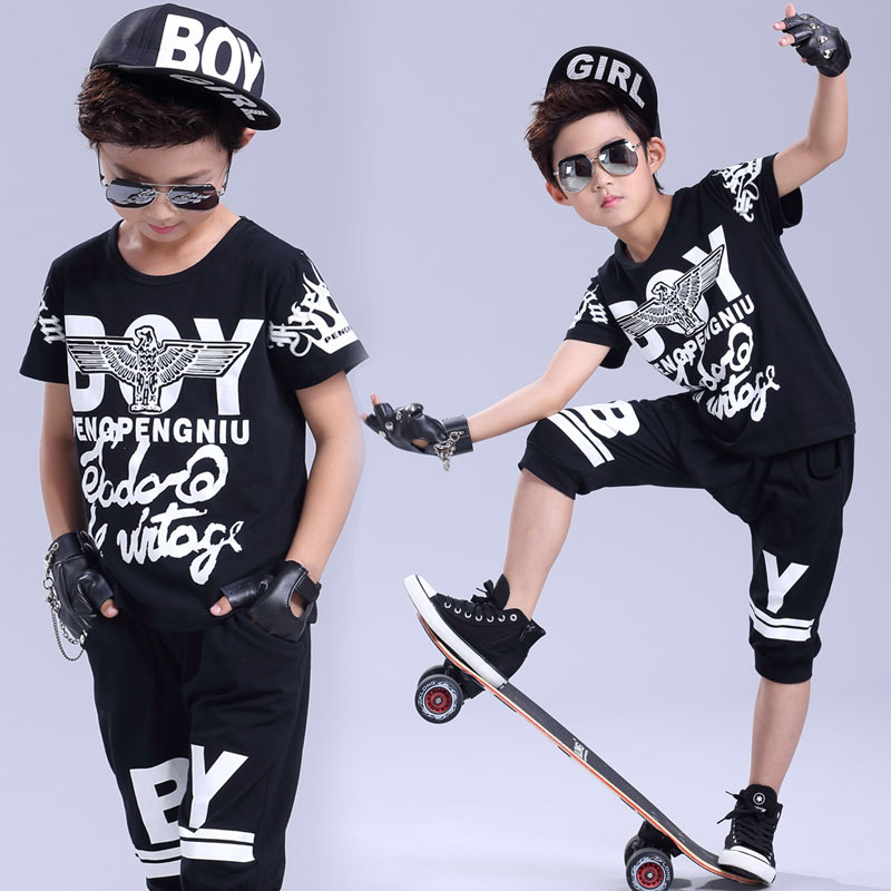 9b8899bb Brand 2017 New summer children's clothing set Costumes White BOY printing T  shirt + Hip Hop harem pants kids sport suits black-in Clothing Sets from  Mother ...