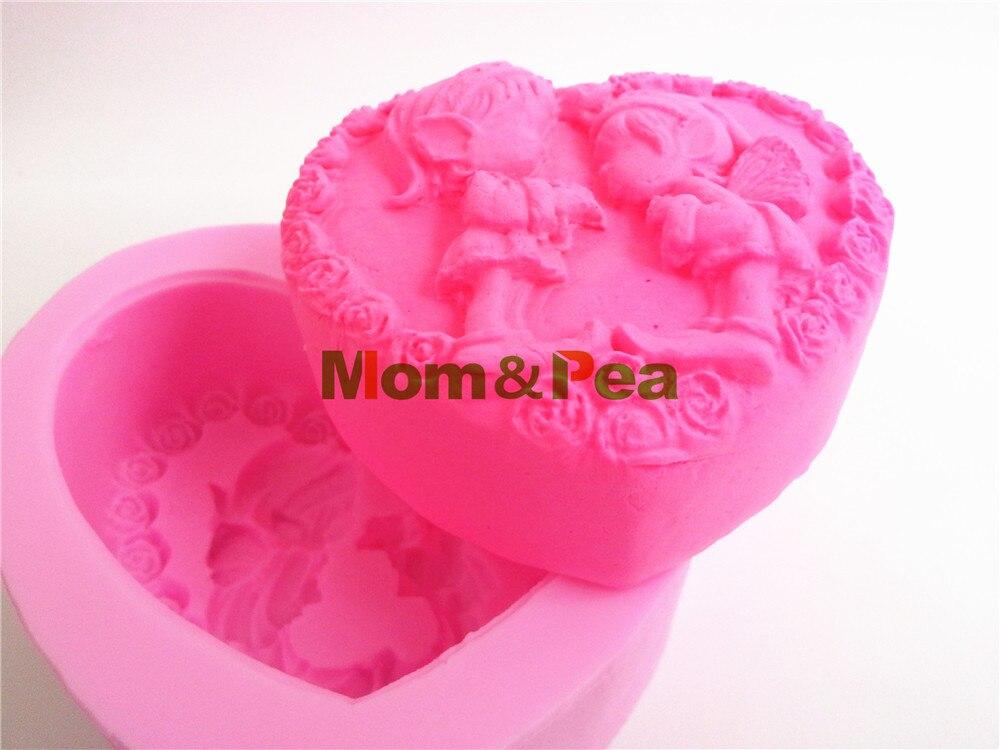 Мама и гороха 0347 бесплатная доставка мальчик и девочка сердце силиконовой мыло формы украшения торта помадка торт 3D Плесень пищевых класс с...