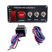 12V 30A Auto Engine Start Push Button Racing Car Ignition Switch Toggle Carbon Fiber Panel