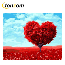 RIHE Red Fancy Tree Drawing By Numbers Heart World Design DIY Painting Handwork On Canvas Oil Art Coloring For Home