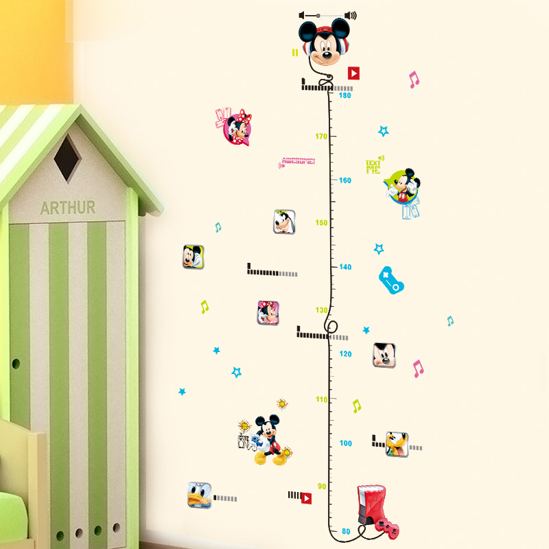 Mickey Minnie Mouse dos desenhos animados Altura Medida Adesivos de Parede de PVC Para Kids Room Home Decor Anime Crescimento Gráfico Mural Art DIY cartaz