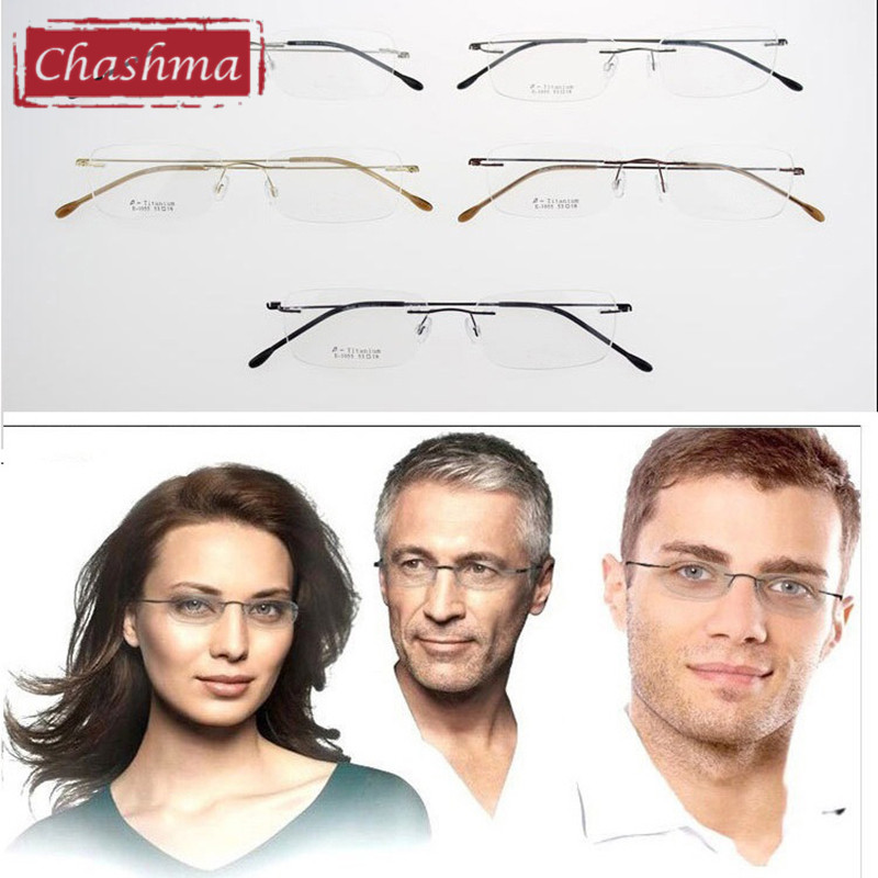 e512cba275 Chashma Ultralight Titanium Rimless Glasses Frame Myopia Frame Good Look  and Comfort Glasses Frames-in Eyewear Frames from Apparel Accessories on ...