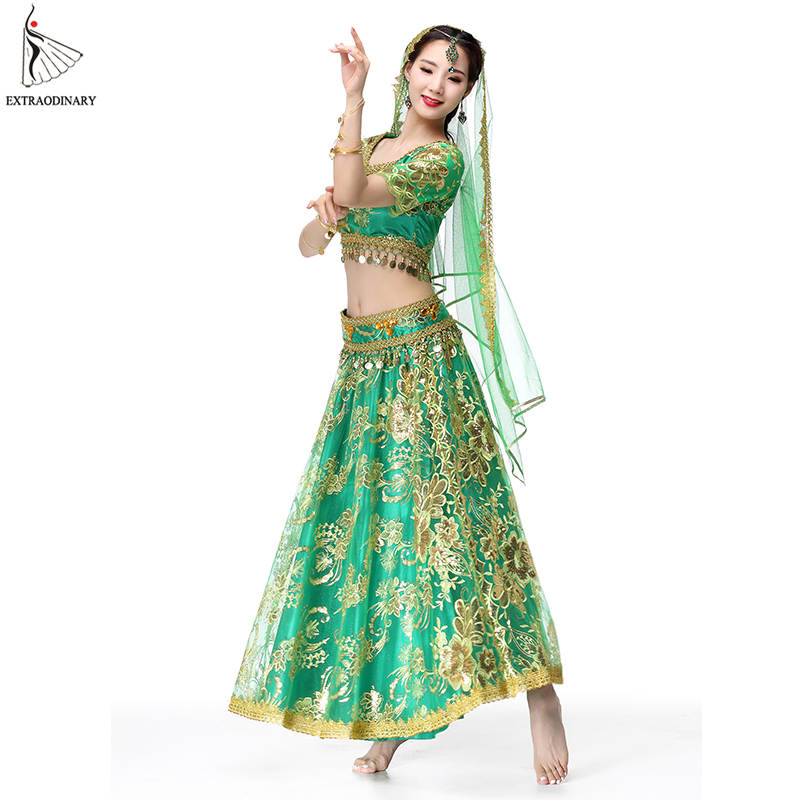 Bollywood Dance Performance Indian Dresses For Women Costume Belly Dance Suits Tops Sleeve Coins 4pcs Set