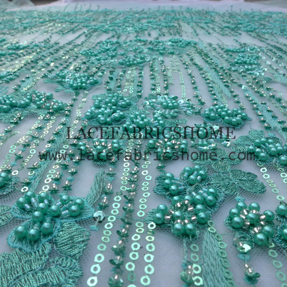 one yard Super heavy workmanship pink/green pearls sequins beaded on net embroidery fashion show/wedding dress lace fabric one yard Super heavy workmanship pink/green pearls sequins beaded on net embroidery fashion show/wedding dress lace fabric