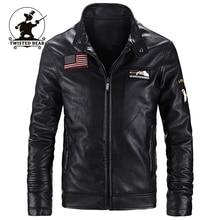 Neue Marke männer Schwarze Lederjacke Mode Stehkragen Pu-leder Motorrad Jacken Plus Größe Aviator Jacke Männer M ~ 4XL D1F51