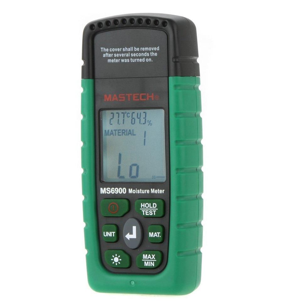 Original Mastech MS6900 higrometre Mini Digital Moisture Meter Wood/ Lumber/Concrete Buildings Humidity Tester with LCD Display