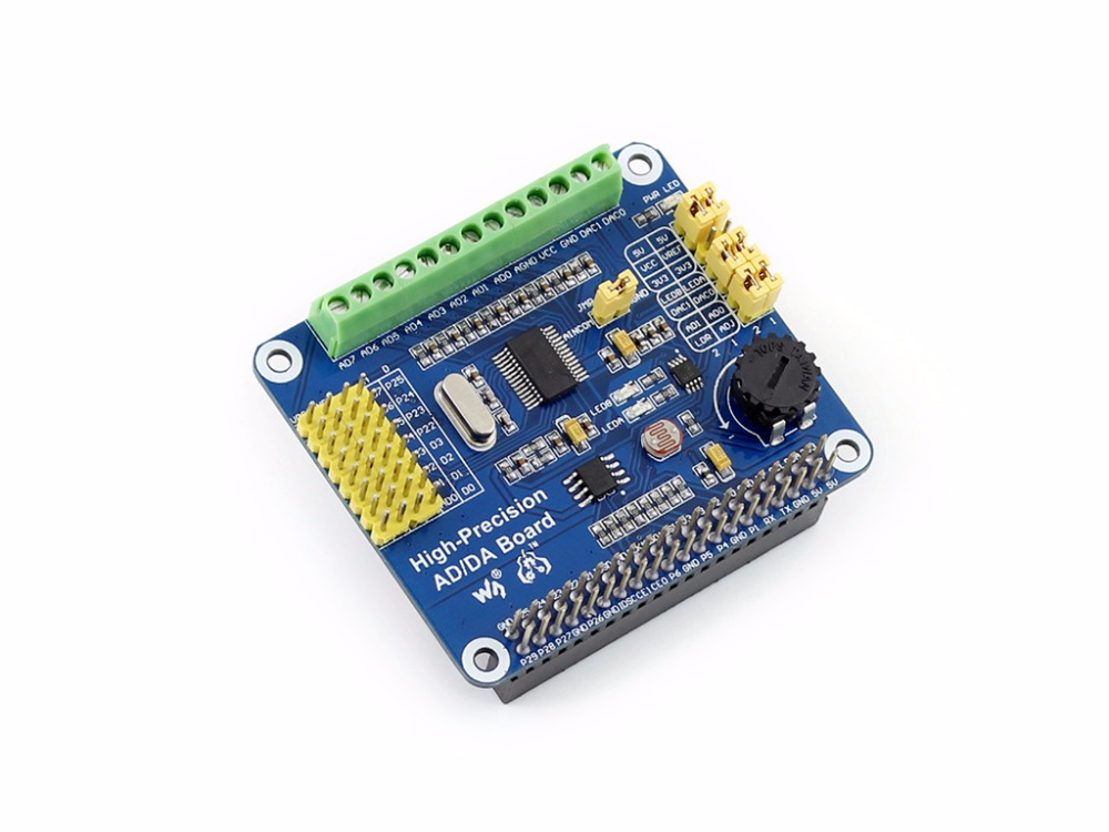Parts Raspberry Pi High-Precision AD/DA Board AD/DA Expansion add high-precision AD/DA functions to the Raspberry Pi 3 B/2 B /A+ parts arpi600 io expansion board for all raspberry pi 3 b 2 b for motor control gsm gprs shield and xbee with various interface