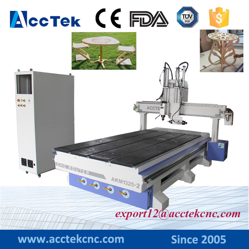 Wood Door Making Cnc Router Cutting Drilling Machine 2 Spindle 1325 Kitchen Cabinet Making Machines