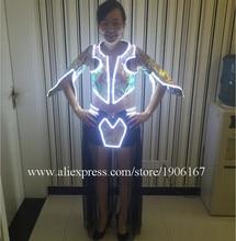 Горячая мода светодиод мигает светящиеся пикантные женские платье костюм для танцев Одежда для женщины LED одежда с беспроводной управления