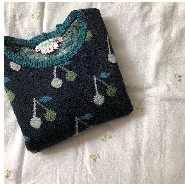 2018 niños del invierno cereza suéter niños ropa niñas niños Navidad VESTIDOS niños Niña de Navidad