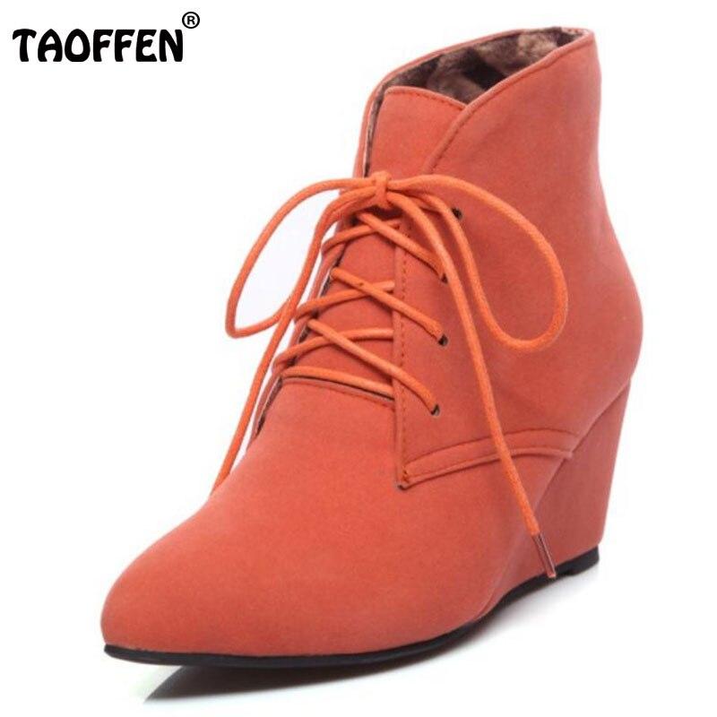 TAOFFEN Women Ankle Warm Boots Winner Cross Strap High Wedges Shoes Women Solid Snow Daily Boots Dress Footwear Size 34 39