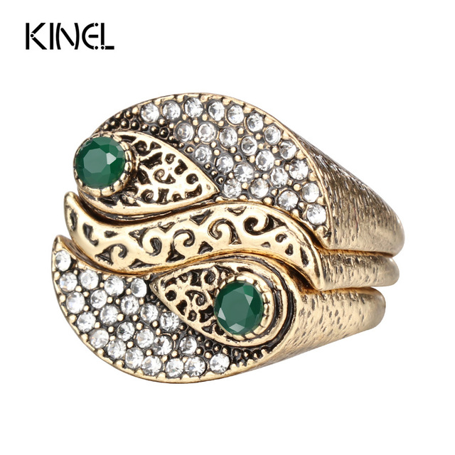 Kinel New Arrivals Fashion 3Pcs Bohemia Women's Rings Sets Antique Gold Color Mo
