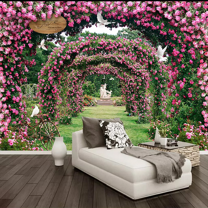 Custom Photo Wallpaper Flower 3D Rose Wreath Mural Living Room Marriage Room Wall Decoration Home Wall Mural Papel De Parede 3D