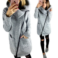 Autumn Winter Fashion Zipper Women Jackets Coats Long Sleeve Solid Turn Down Collar Jacket Femme Coats