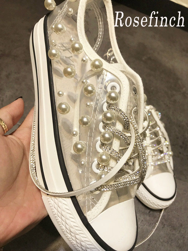 Luxury Rhinestone Pearl Canvas Sneakers Transparent Women Fashion Hand-Stitched Crystal Sneakers Dropshipping Wholesale WK155Luxury Rhinestone Pearl Canvas Sneakers Transparent Women Fashion Hand-Stitched Crystal Sneakers Dropshipping Wholesale WK155