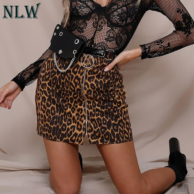 cff12d3ab77c NLW Satin Leopard Print Metal Skirt Women Sexy Night Clubwear Short Skirt  Midi Waist Zipper Split Mini Skirt Autumn Winter