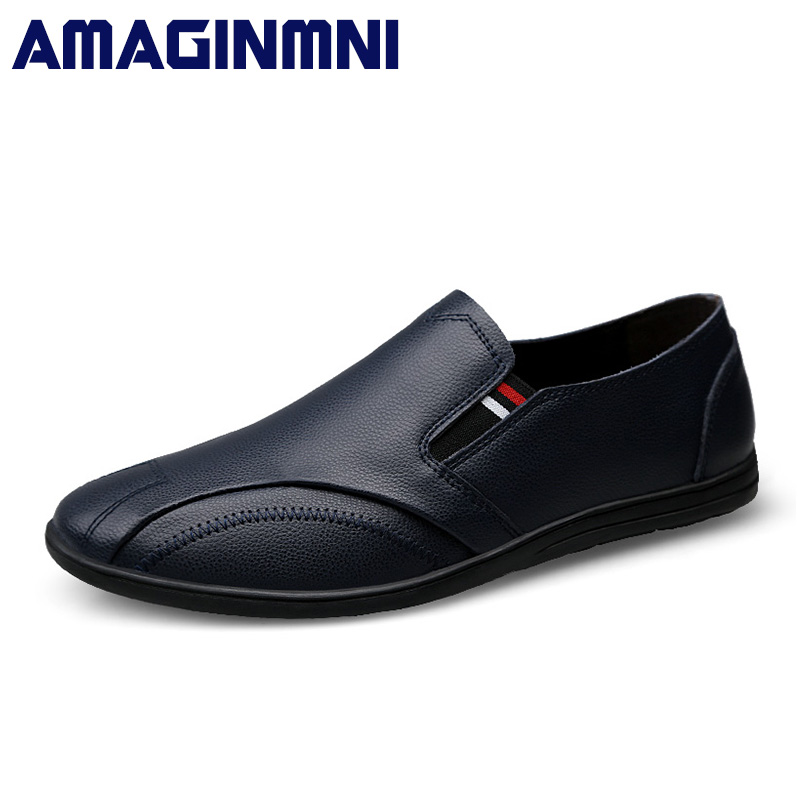 AMAGINMNI Men's Shoes Casual Moccasins Men Loafers Shoes Luxury Brand Breathable men leather shoes Genuine Leather Driving shoes