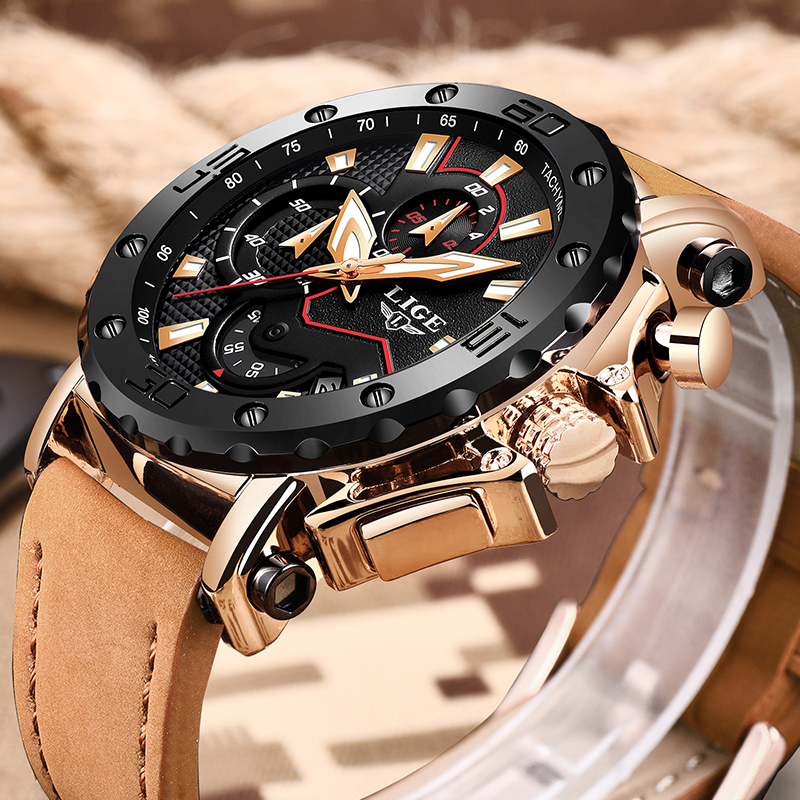 New LIGE Mens Watches Top Brand Luxury Business Chronograph Quartz Watch Mens Casual Leather Waterproof Watch Relogio masculinoNew LIGE Mens Watches Top Brand Luxury Business Chronograph Quartz Watch Mens Casual Leather Waterproof Watch Relogio masculino
