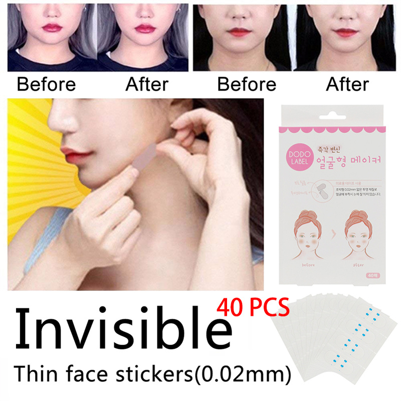 Practicable Invisible Thin Face Artifact Stickers Facial Line Wrinkle Skin V-Shape Face Lift Tape For Face Lift Tool40 Pcs/Set