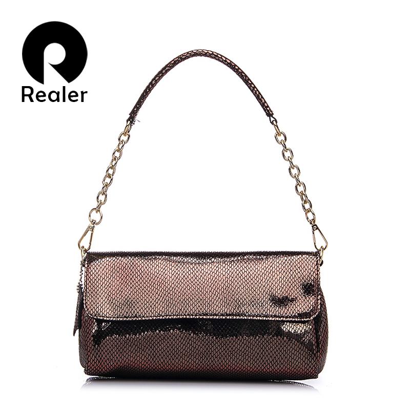 Prix pour Realer marque mode femmes crocodile motif sac à bandoulière de haute qualité en relief sac de messager femmes en cuir sac bandoulière