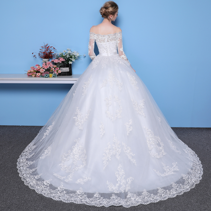 Mrs Win Long Sleeves Wedding Dresses 2021 Princess Lace Bridal Bride Gowns Luxury Vintage Off The Shoulder Robe De Mariage