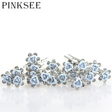 PINKSEE 20pcs/lot Bridal Wedding Hair Pins Blue Flower Crystal Hair Clips For Women Jewelry Accessories Gift
