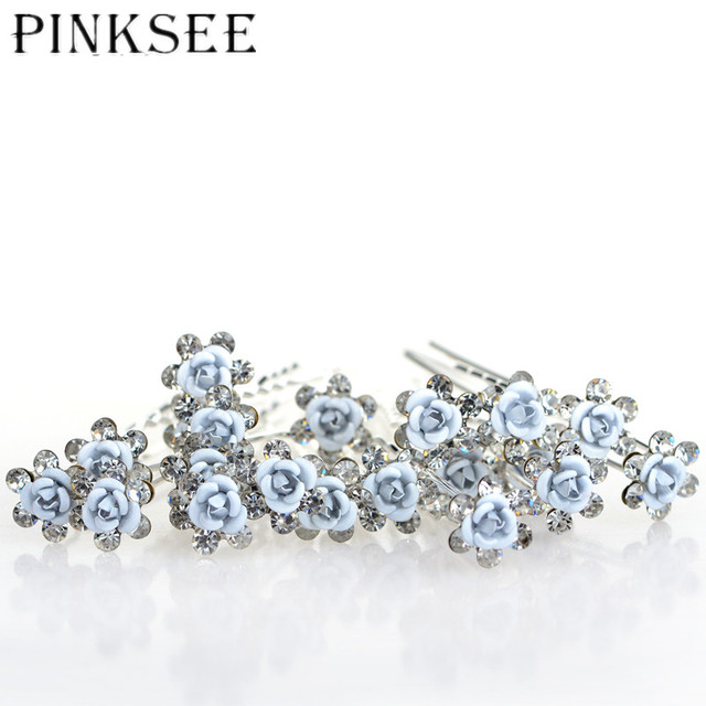 PINKSEE 20pcs lot Bridal Wedding Hair Pins Blue Flower Crystal Hair Clips  For Women Jewelry Accessories Gift 0d467643b76a