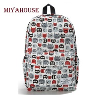 Miyahouse Cartoon Cats Printed School Backpack For Teenage Casual Canvas Backpack Female Large Capacity Ladies Travel