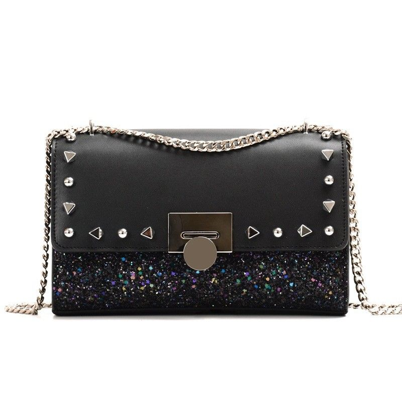 High Quality Rivets Studded Sequins Genuine Leather Women Handbag Gold Chain Shoulder Messenger crossbody Flap Bag Ladies Purse fashion new design pu leather lotus wave female chain purse shoulder bag handbag ladies crossbody messenger bag women s flap