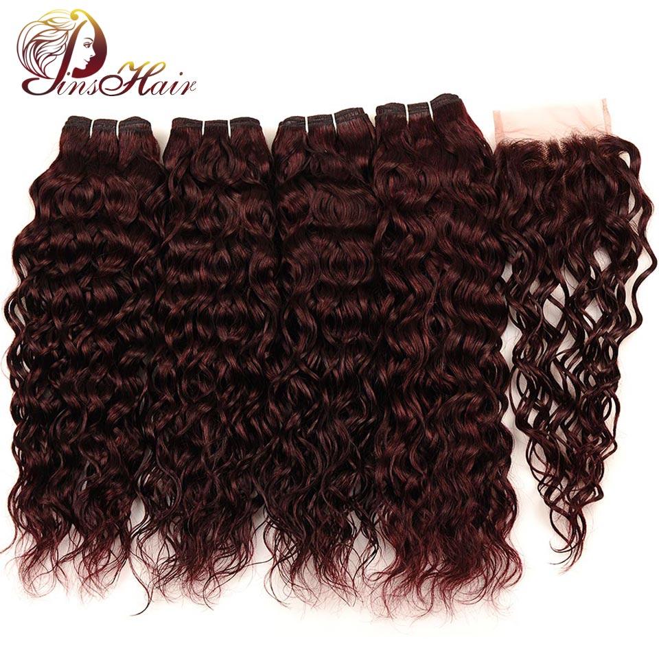 Бразильский воды волна волос бордовый 4 Связки с закрытием Pinshair предварительно Цветной темно красный человеческих волос пучки с закрытием