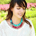 Luxury Short Chain Design 2015 Statement Bib Necklace Enamel Parrot Faceted Gem Chunky Necklace For Women