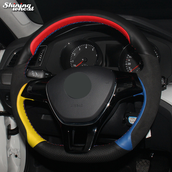 Shining wheat Black Red Yellow Blue Leather Steering Wheel Cover for Volkswagen VW Golf 7 Mk7 New Polo Jetta Passat B8 Tiguan