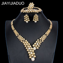 African Dubai Gold color Jewelry Nigerian Crystal Necklace Hoop Earrings Women Italian Wedding Jewelry Sets Bridal Accessories(China)