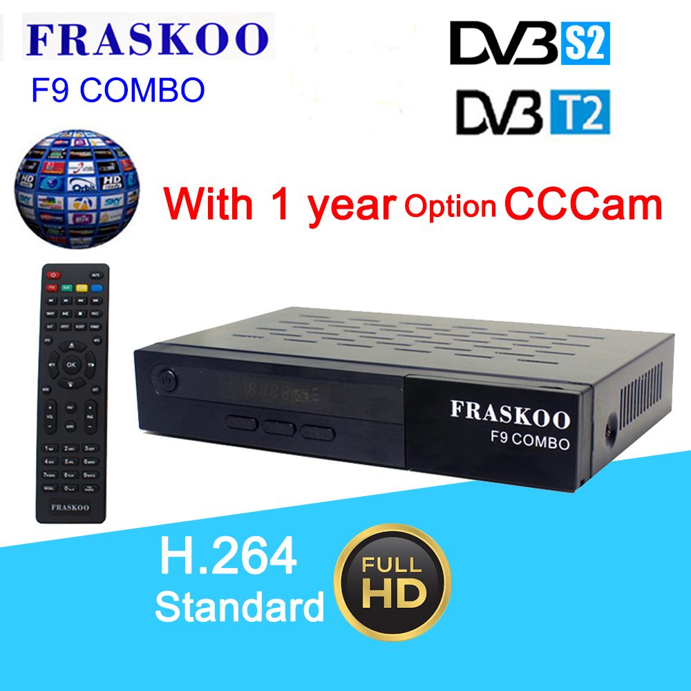 Fraskoo F9 Combo DVB T2 S2 Digital Full 1080P HD tv Satellite Receiver with 1 year 5lines cccam Support PVR 7 days EPG Youtube