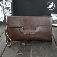 ETONWEAG Famous Brands Leather Men Clutch Bags Brown Vintage Wallet For Credit Cards Preppy Cell Phone Coin Purse Travel Wallets