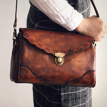 New 2016 Retro Vintage Womens messenger bags Real Cow leather shoulder natural Genuine brand crossbody Totes