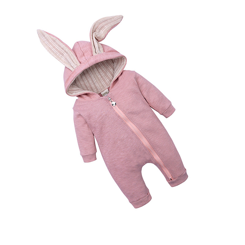 Baby Newborn Spring Autumn Rompers Long Sleeve Rabbit Cartoon Casual Cotton Warm Hooded Jumpsuit Baby Boy Girl Clothes Outfits