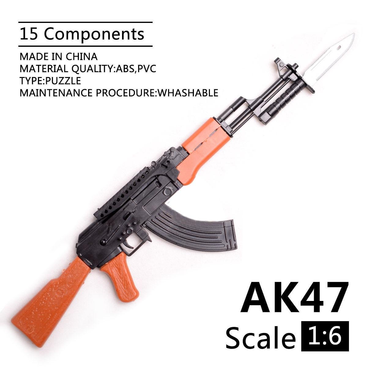 1/6 Scale AK47 Rifle Toy Gun Model Assembled Puzzles Building Bricks Gun Soldier Weapon For Action Figures