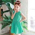 Nueva moda de verano vestido de la muchacha 2017 ropa de los niños ocasionales verde vestido de verano para adolescentes niños sin mangas vestidos para niñas de la escuela