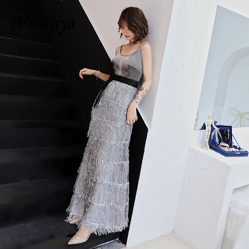 It's YiiYa   Evening     Dress   Shining Sequins Tessel Tiered Long Formal Trumpet   Dresses   Sexy Spaghetti Strap Gray Party Gown E043