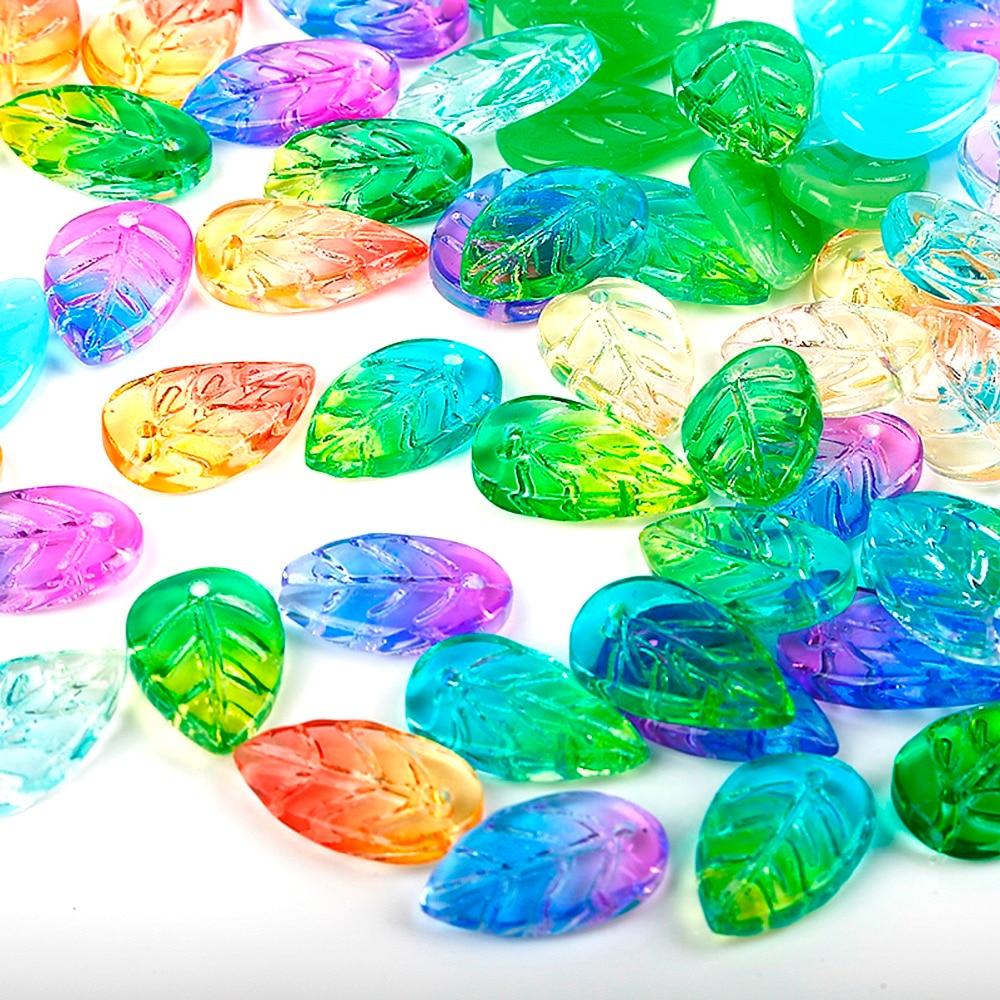 5 pièces 11x18mm Multi couleur feuille au chalumeau perles artisanat larme verre sirène perles feuilles pendentif bricolage fabrication de bijoux