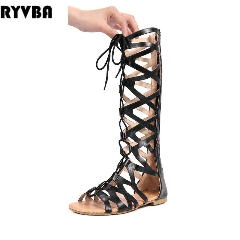 ZJVI womens knee high boots women flat thigh high summer boots 2018 woman cut outs flats cross tied sandals ladies black shoes
