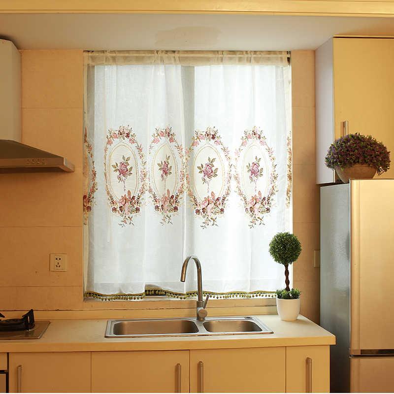 Белые вышитые цветочные короткие занавески s для кухни балдахин пелмет вуаль занавески s для двери окна жалюзи кофейные занавески QT027-3